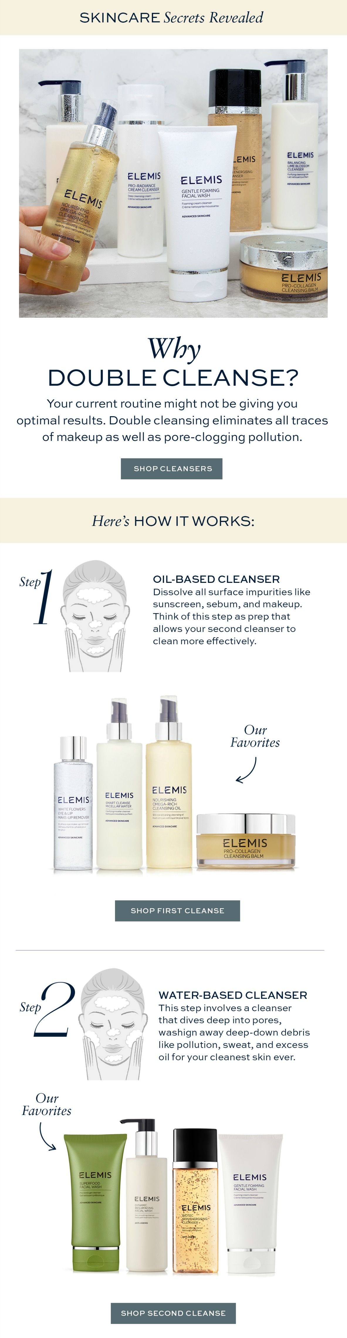 How To Double Cleanse With Elemis Best Oil Based Cleanser Best Water Based Cleanser Elemis Face Cleanser Oil Based Cleanser