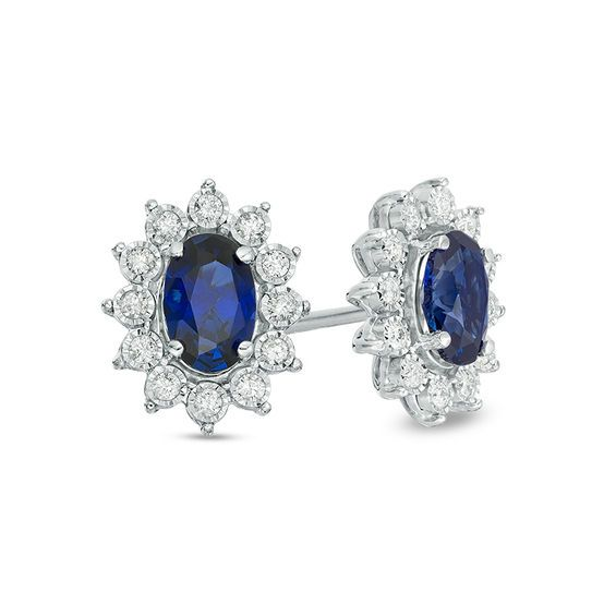 a144313e670dcb Oval Lab-Created Blue Sapphire and 1/6 CT. T.w. Diamond Starburst Frame Stud  Earrings in 10K White Gold