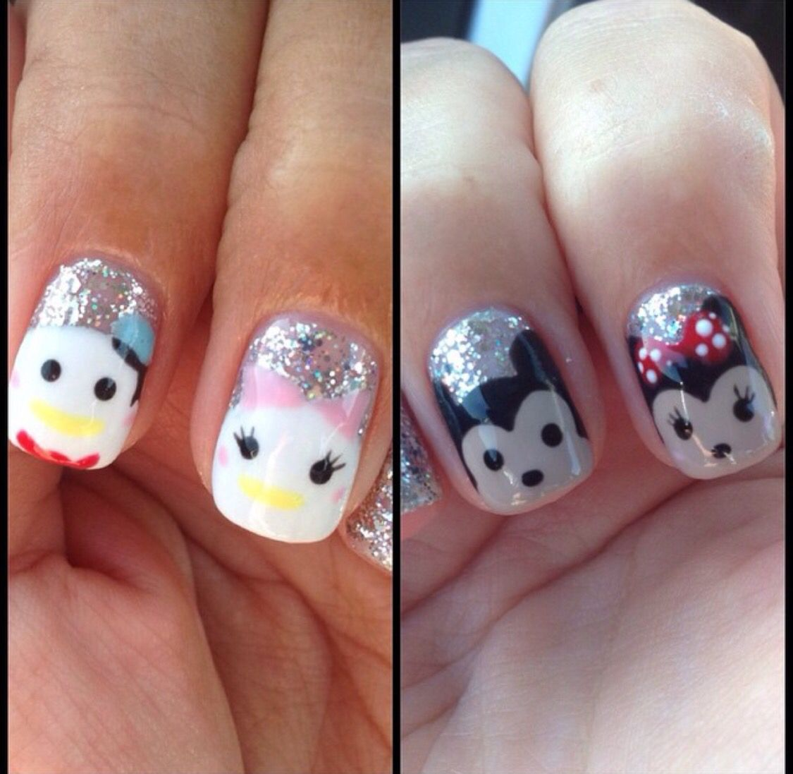 Disney nail art. Minnie Mouse. Mickey Mouse. Daisy Duck. Donald Duck ...