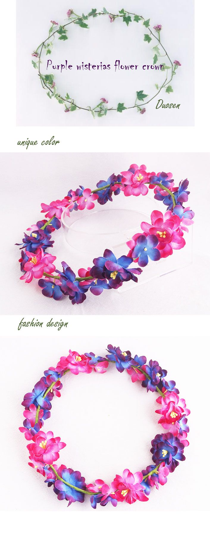 Girls Child Cute Purple Wisterias And Hydrangea Flower Crown For