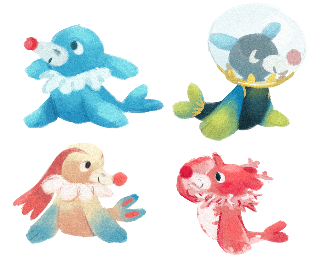 """b8cdd19d 20joules: """"popplio variations!! lucky me got a female popplio so now my  primarina's gonna have cute kids ;0 (original, dewpider, milotic, corsola!)  """""""