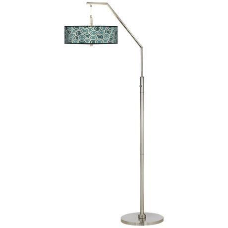Blue/Green Circles Giclee Shade Arc Floor Lamp
