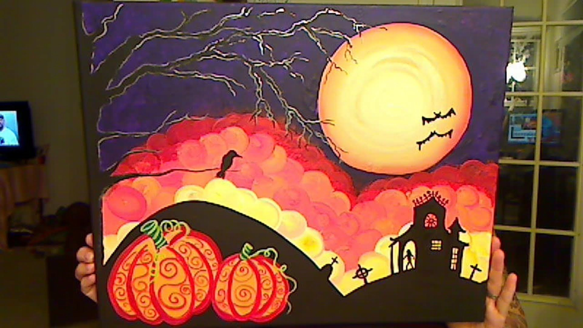 Halloween Scene How To Halloween Painting Canvas Painting Autumn Painting