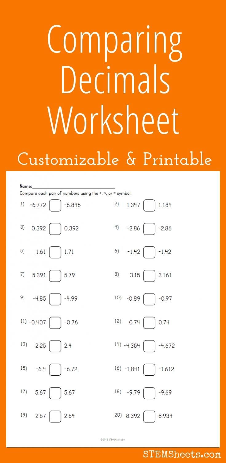 comparing decimals worksheet - customizable and printable | math