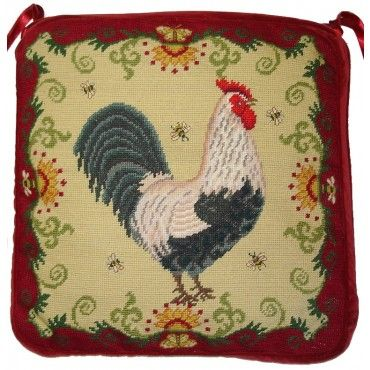 Silver Gray Dorking Rooster Needlepoint Chair Pad Kitchen Cushions Chairs Bar