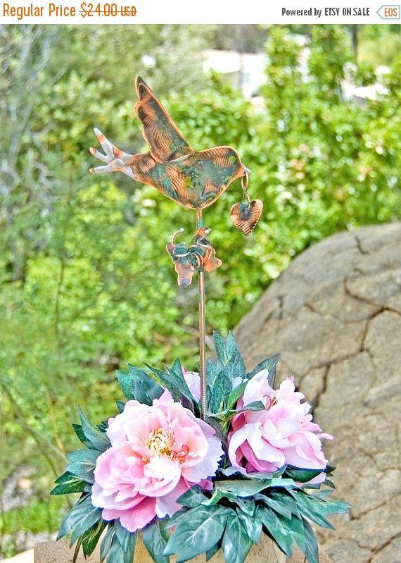Sale Metal Copper Bird Sculpture Garden Art Plant Stake Outdoor