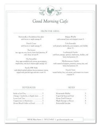 google menu template