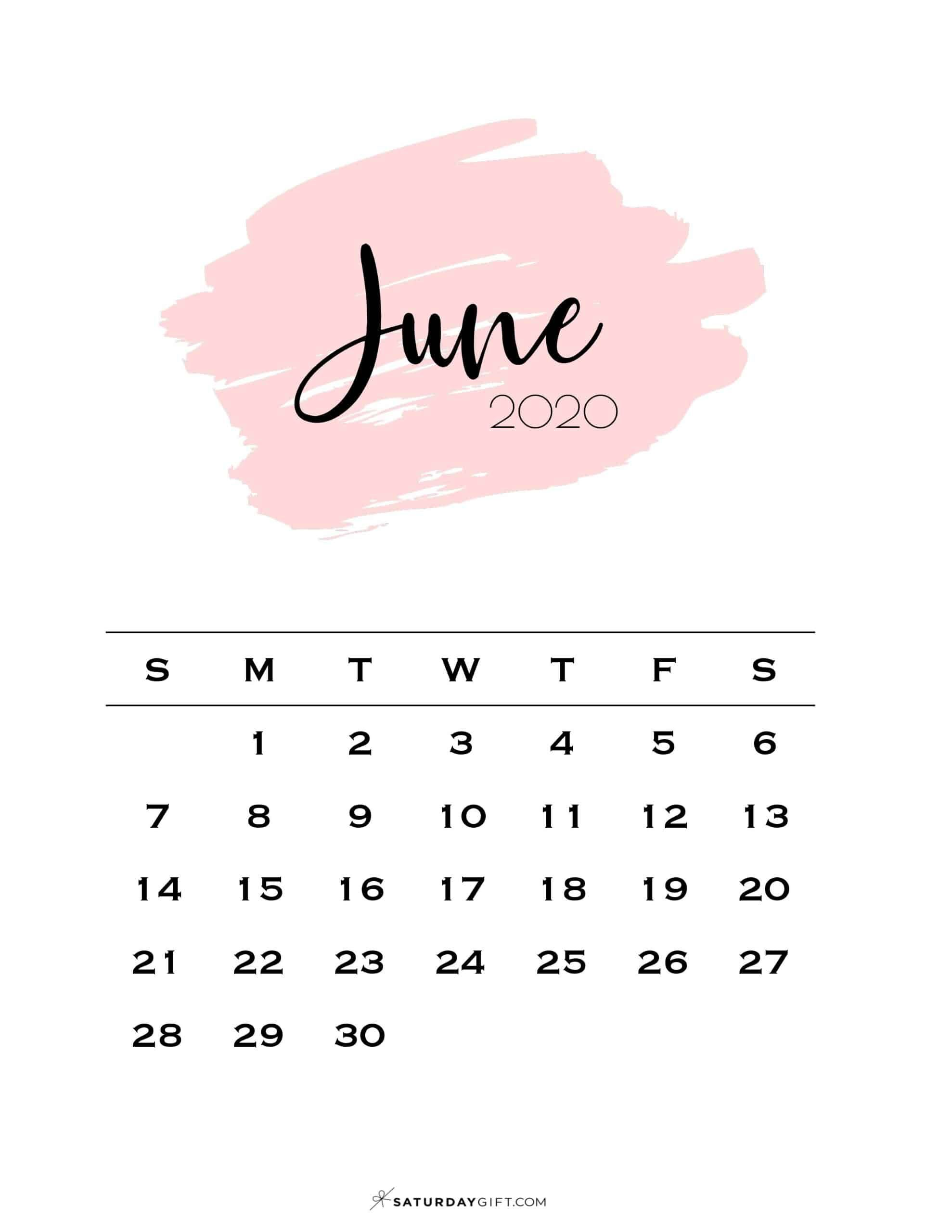 June 2021 Calendar Cute Cute (& Free!) Printable June 2021 Calendar | SaturdayGift in 2020