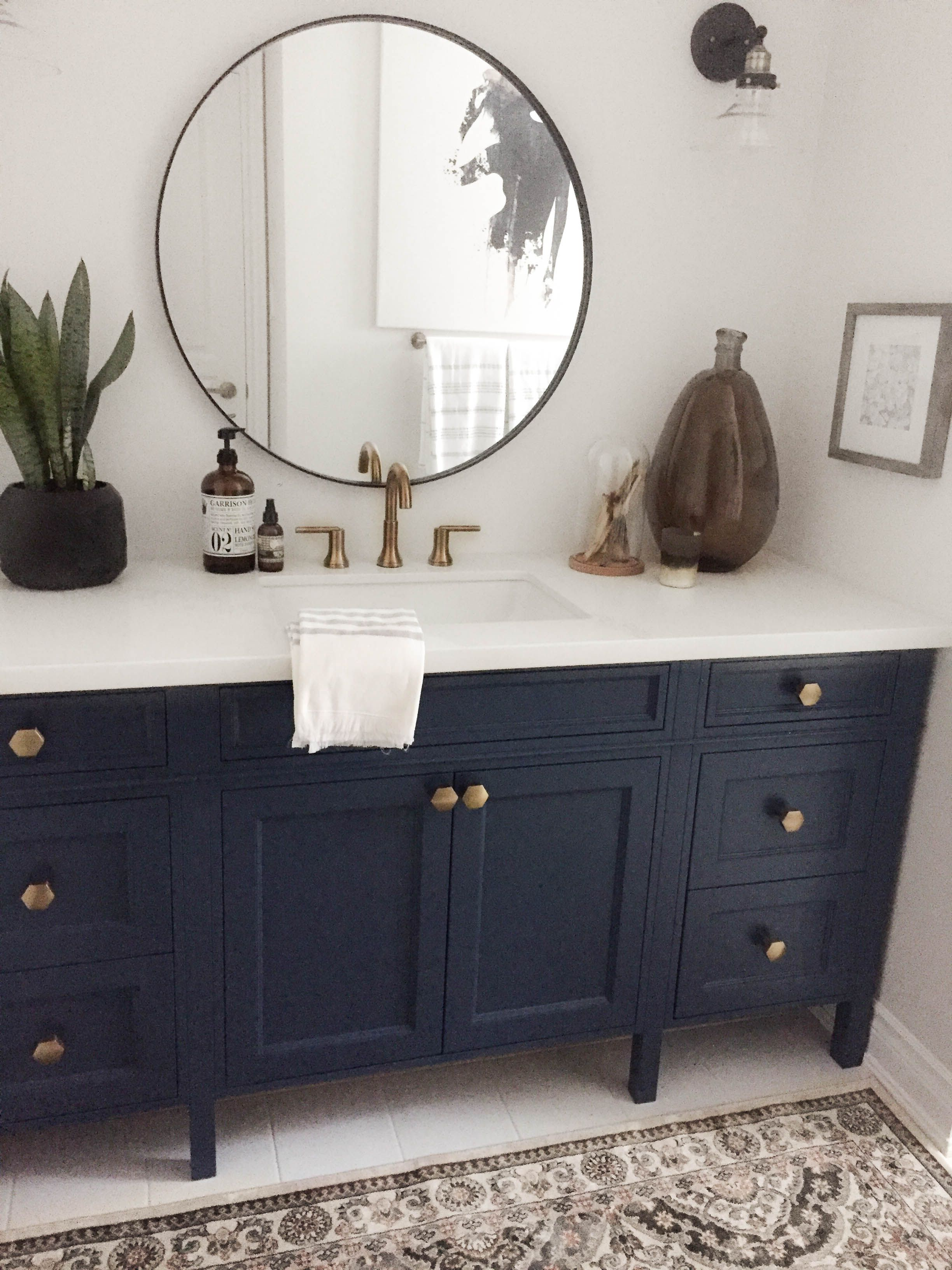Navy vanity with gold hardware and gold faucet. - Karin Bennett ...