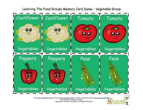 fun matching card game for children to play and learn about the foods of the vegetable food group