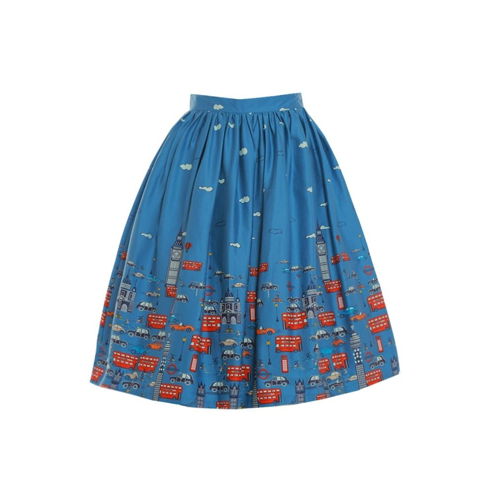 'Adalene' Blue London Traffic Print Swing Skirt