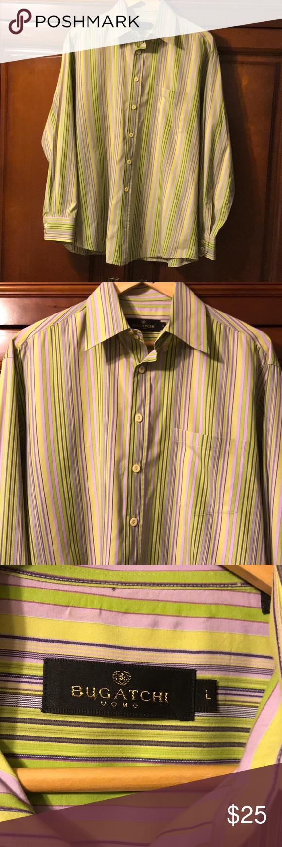 Dark green dress shirt  BUGATCHI VOMO button down shirt size Large  My Posh Closet