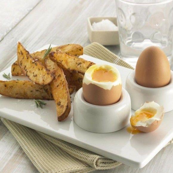 Soft Boiled Eggs and Baked Potato Wedges #kartoffeleckenrezept