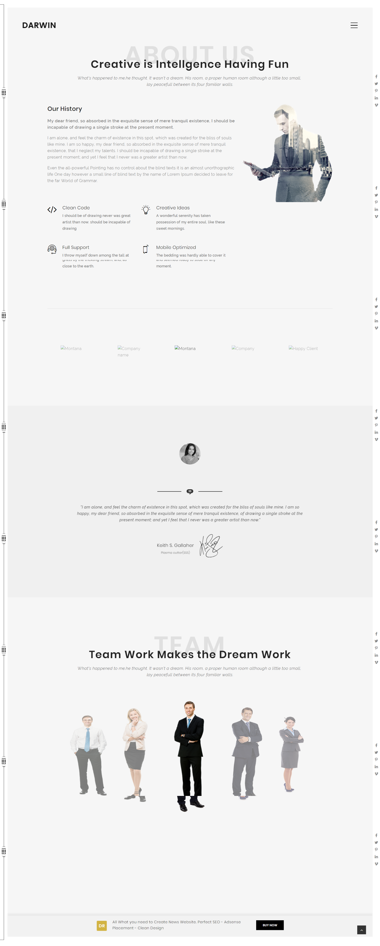 Darwin Creative Minimal Clean Wordpress Theme Template