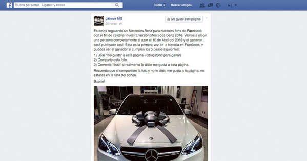 El timo del sorteo de un Mercedes que arrasa en Facebook sólo quiere tus datos