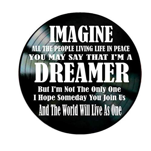 John Lennon Imagine song Lyrics on a Vinyl Record Album