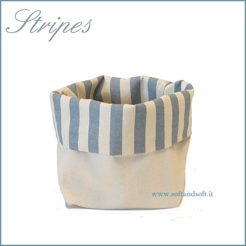 Stripes Cestino Porta Pane da tavola in puro cotone Made in Italy