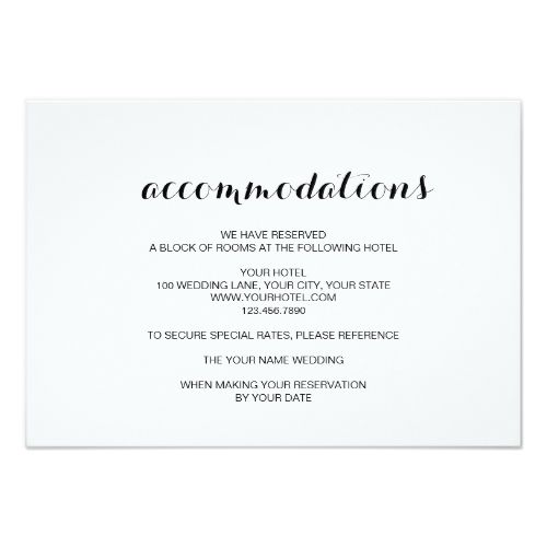 Elegant Wedding Invitation Simple Elegant Modern Wedding Accommodation Card