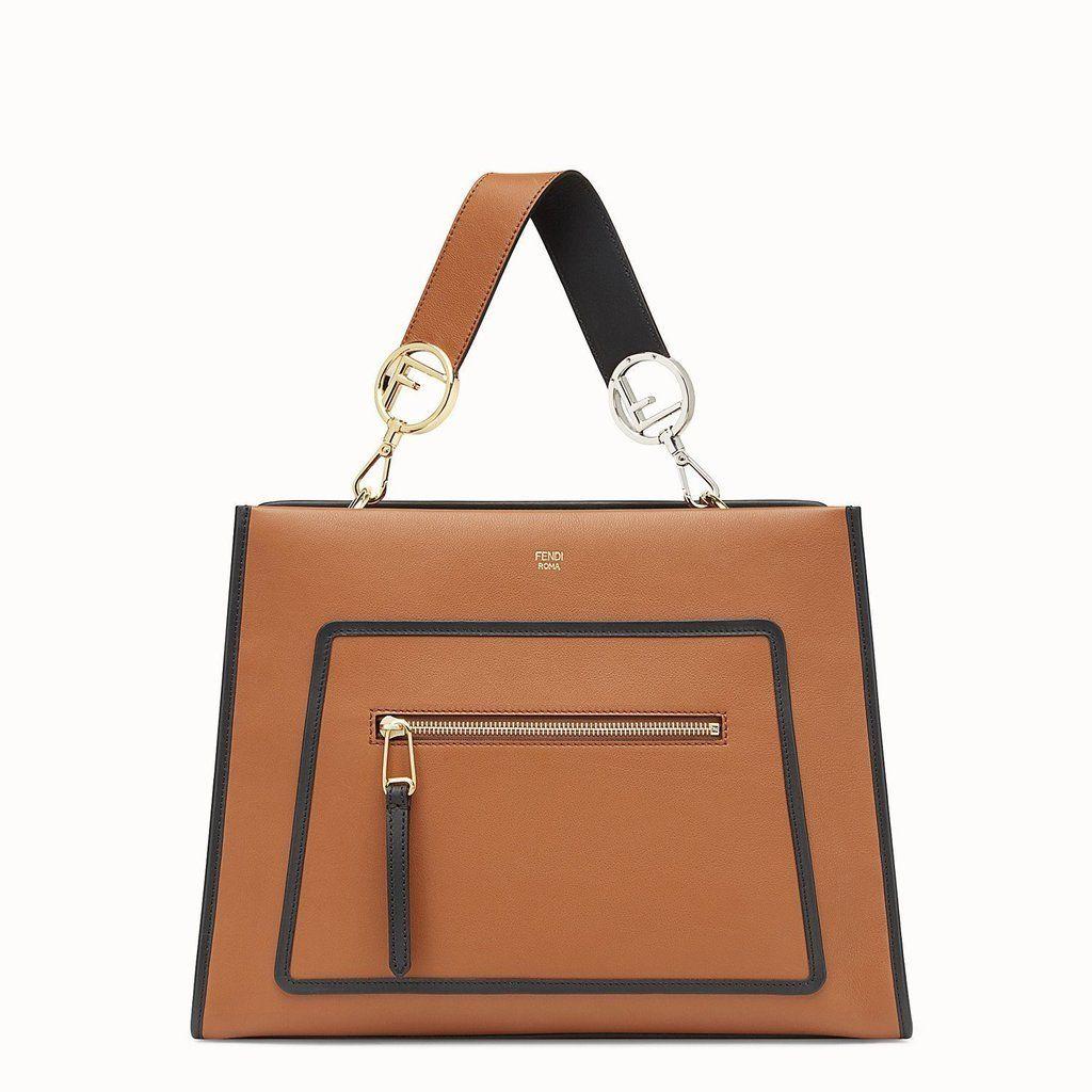 422f1e664a Fendi Shopping Bag Runaway Calf Leather Brown with Black Trim Handbag 8BH343