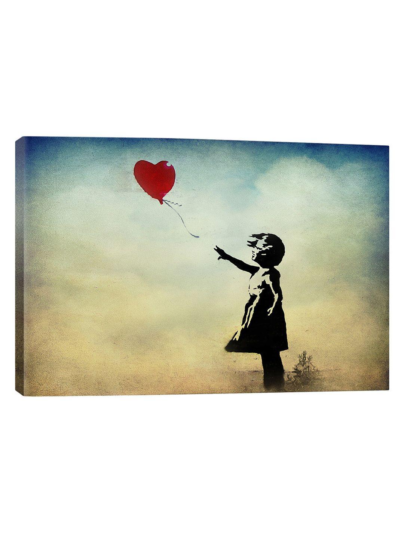 Girl With A Balloon Watercolor (Canvas) | Watercolor canvas