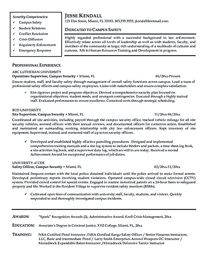 Security Officer Resume Needs To Be Written Carefully Especially
