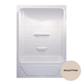 Aqua Glass 59-3/4-in H x 84-in W x 34-in L Bone 1-Piece Shower with Bathtub