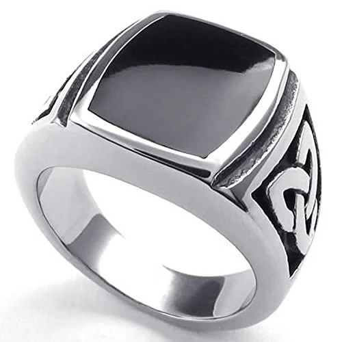 Jewelry Men Stainless Steel Ring, Celtic Knot Signet, Black Silver