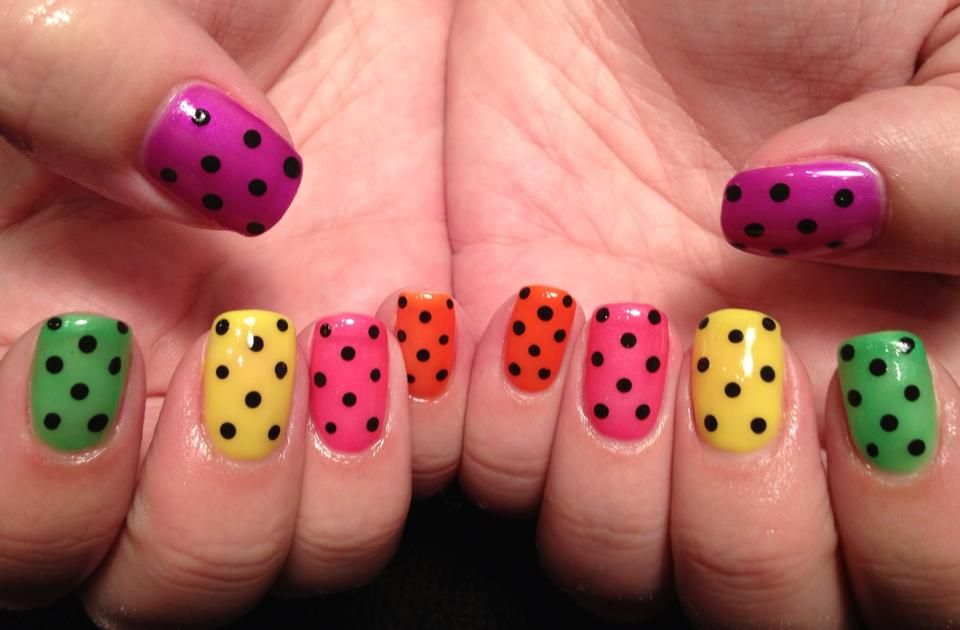 Neon color gels w/dots... facebook.com/nailswithedge
