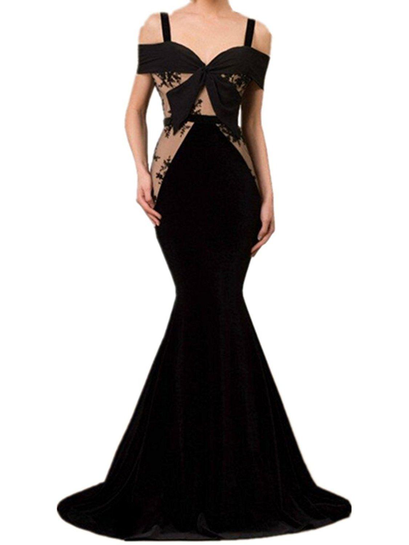 New deve mermaid blacknude offtheshoulder lace tulle velvet sweep