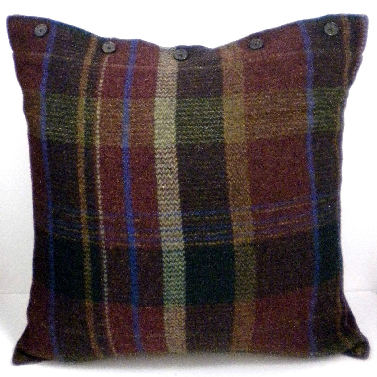Ralph Lauren Edgefield Wool Tartan Plaid Button Pillow S