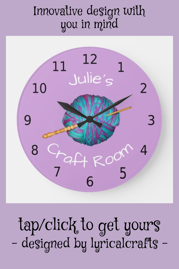 Personalised your name craft room crochet large clock