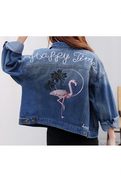 Unique Embroidery Denim Jacket-Flamingo /& Flower
