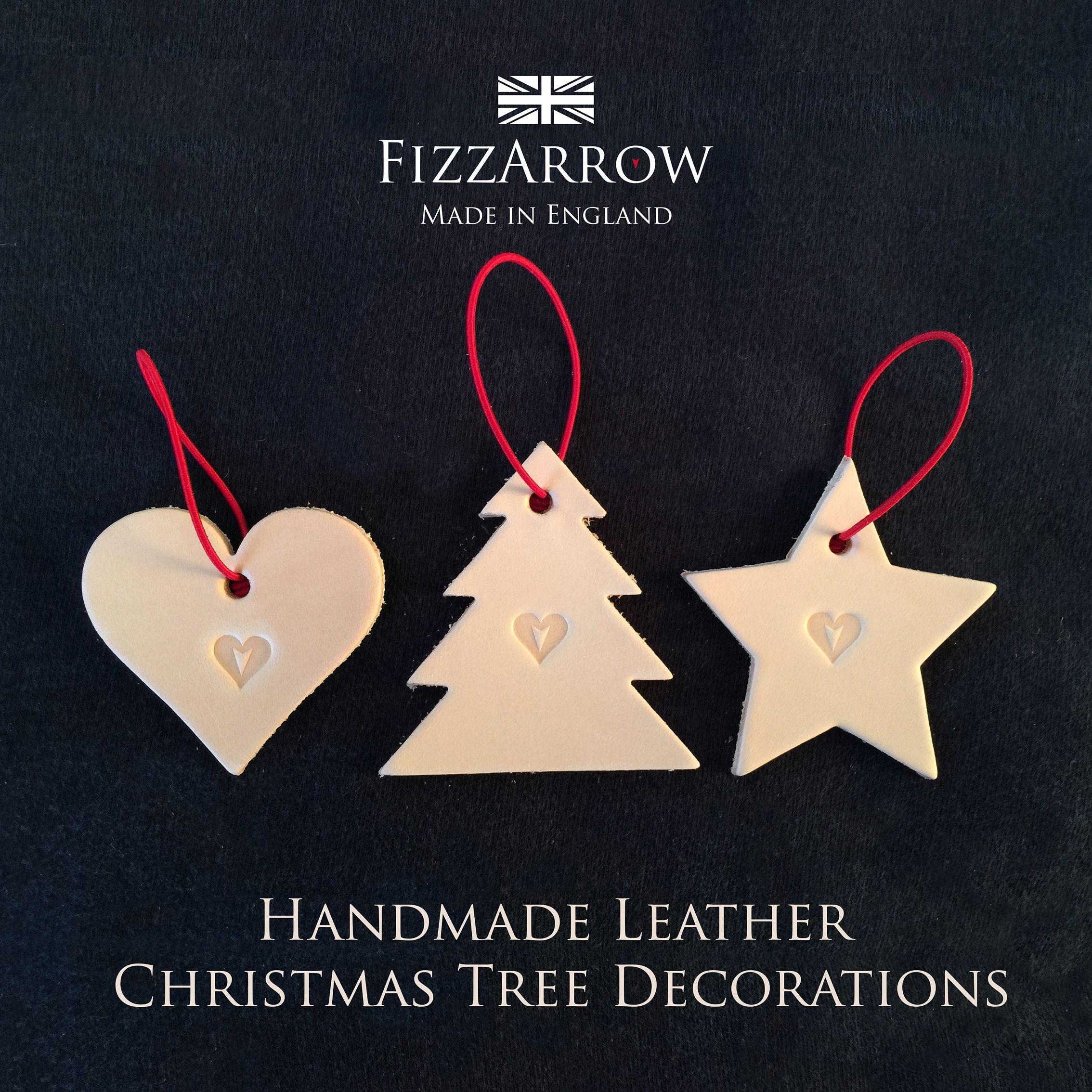The FizzArrow Barton Leather Christmas Tree Decorations