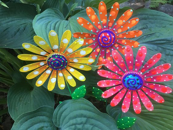 Merveilleux Metal Garden Art Flowers,Set Of Three Garden Stakes,Lawn Decor,Outdoor  Garden Stake,Garden Decor,Metal Yard Flower,Outdoor Decoration