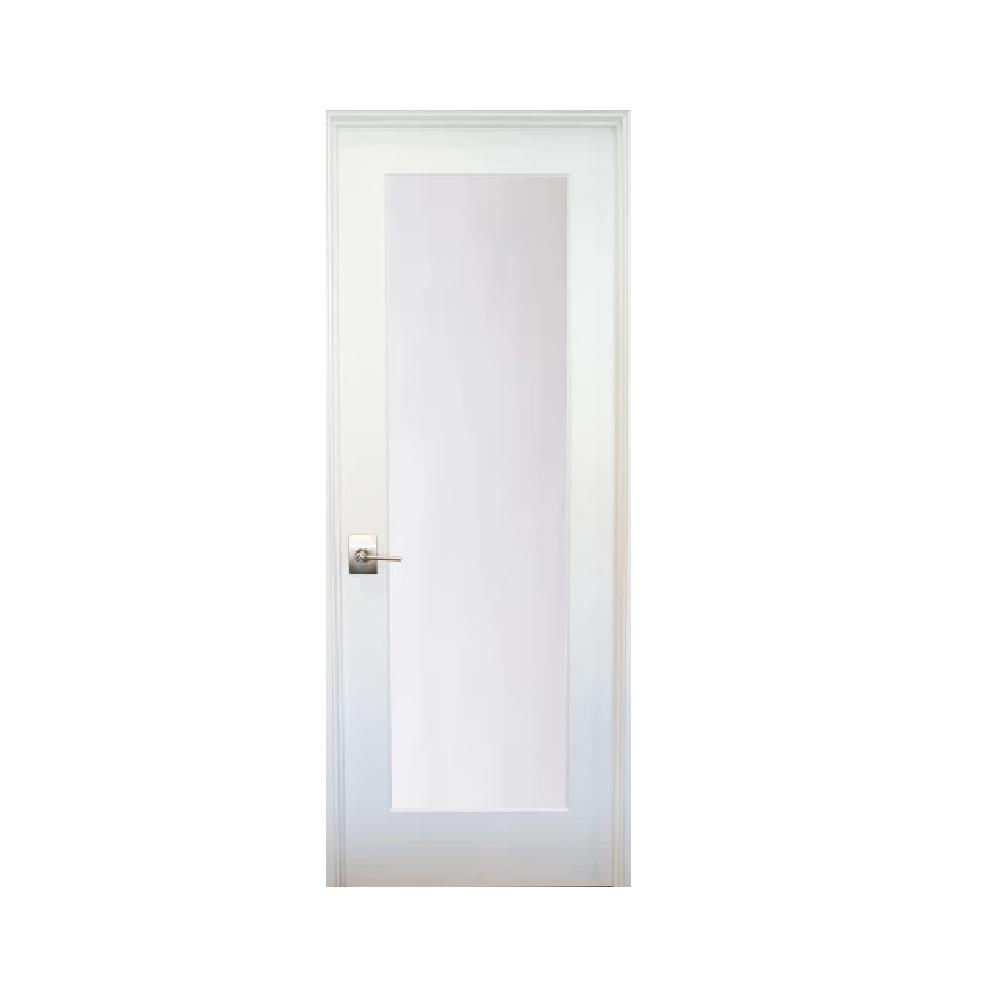 A2b Investments 28 In X 80 In 1 Lite Satin Etch Primed Left Hand Solid Core Mdf Single Prehung Interior Door Primed White Tea In 2019 Prehung Interior Doors Modern Exterior Doors Prehung Doors