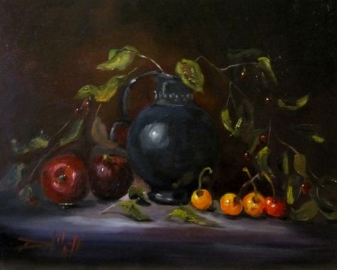 Cherries and Plums, painting by artist Delilah Smith