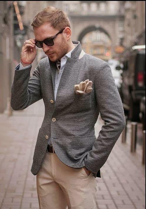 grey jacket khaki pants