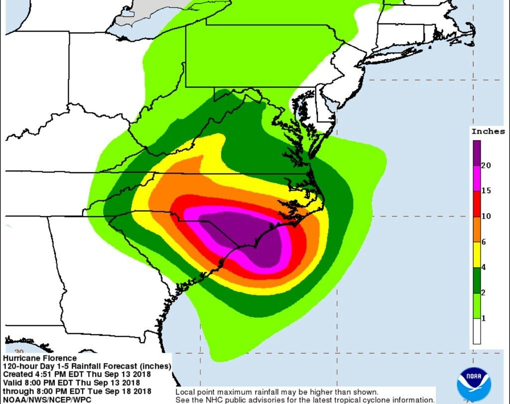 Rainfall From Florence Projection From 5pm Thursday 13 Sept With Images National Hurricane Center Storm Surge North South