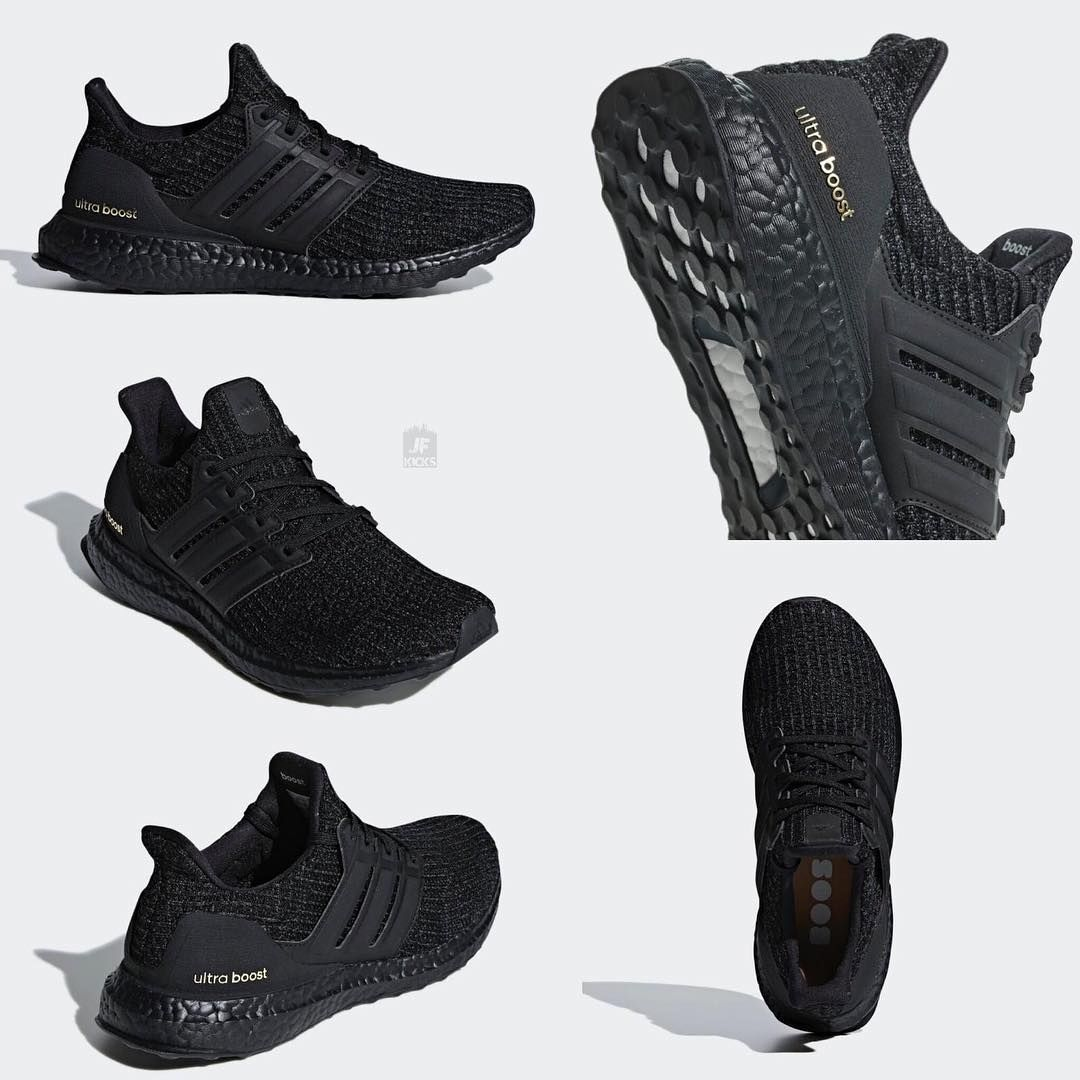 """4c60e3ed7d99c Official Look at a new adidas Ultra Boost """"Triple Black"""" with gold accents  releasing March 1st. Link to purchase is post...  JUSTFRESHKICKS  shoes"""