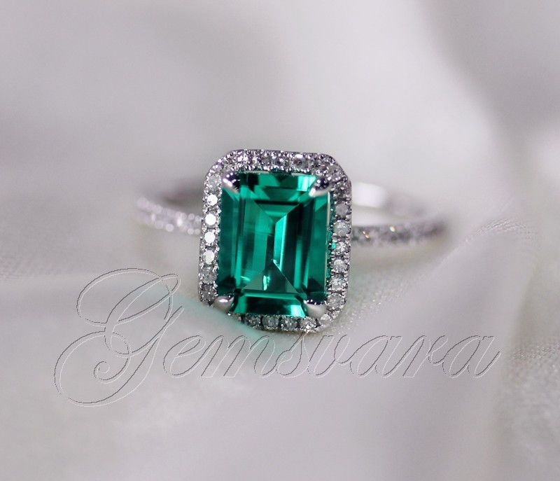 AAA  14k White Gold Emerald Ring Pave Diamonds Engagement Ring Wedding Ring Halo #SolitairewithAccents