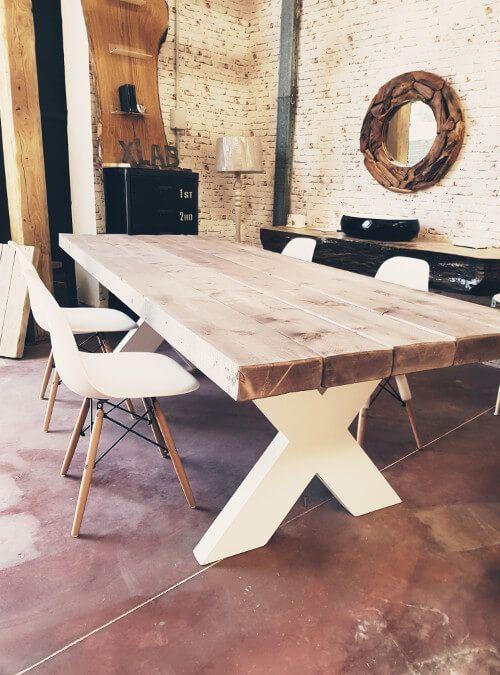 ROGER tavolo da pranzo in legno massello di larice finitura naturale ...