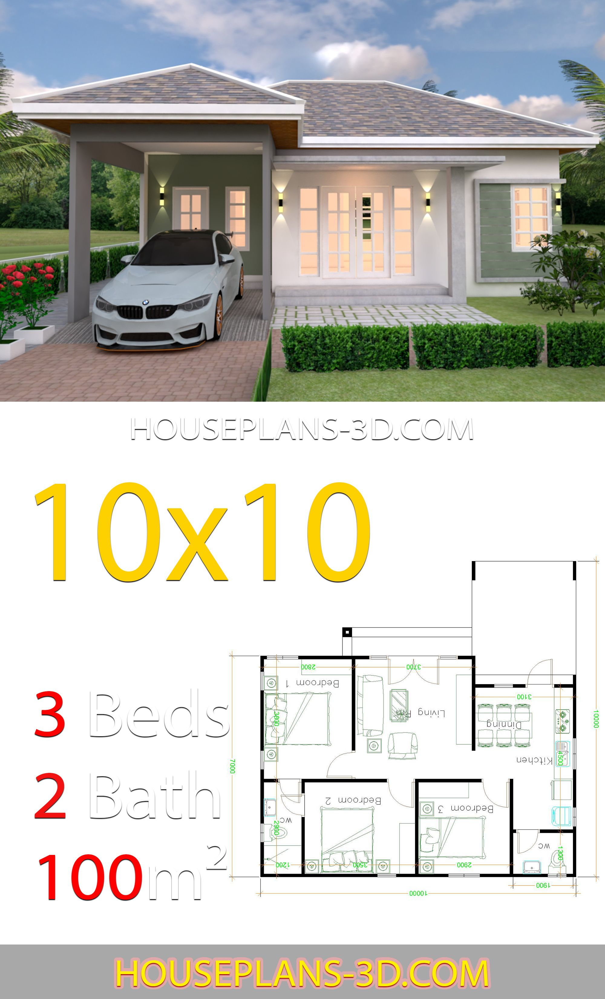 Best Interior House Design Plans 10X10 With 3 Bedrooms Full 400 x 300