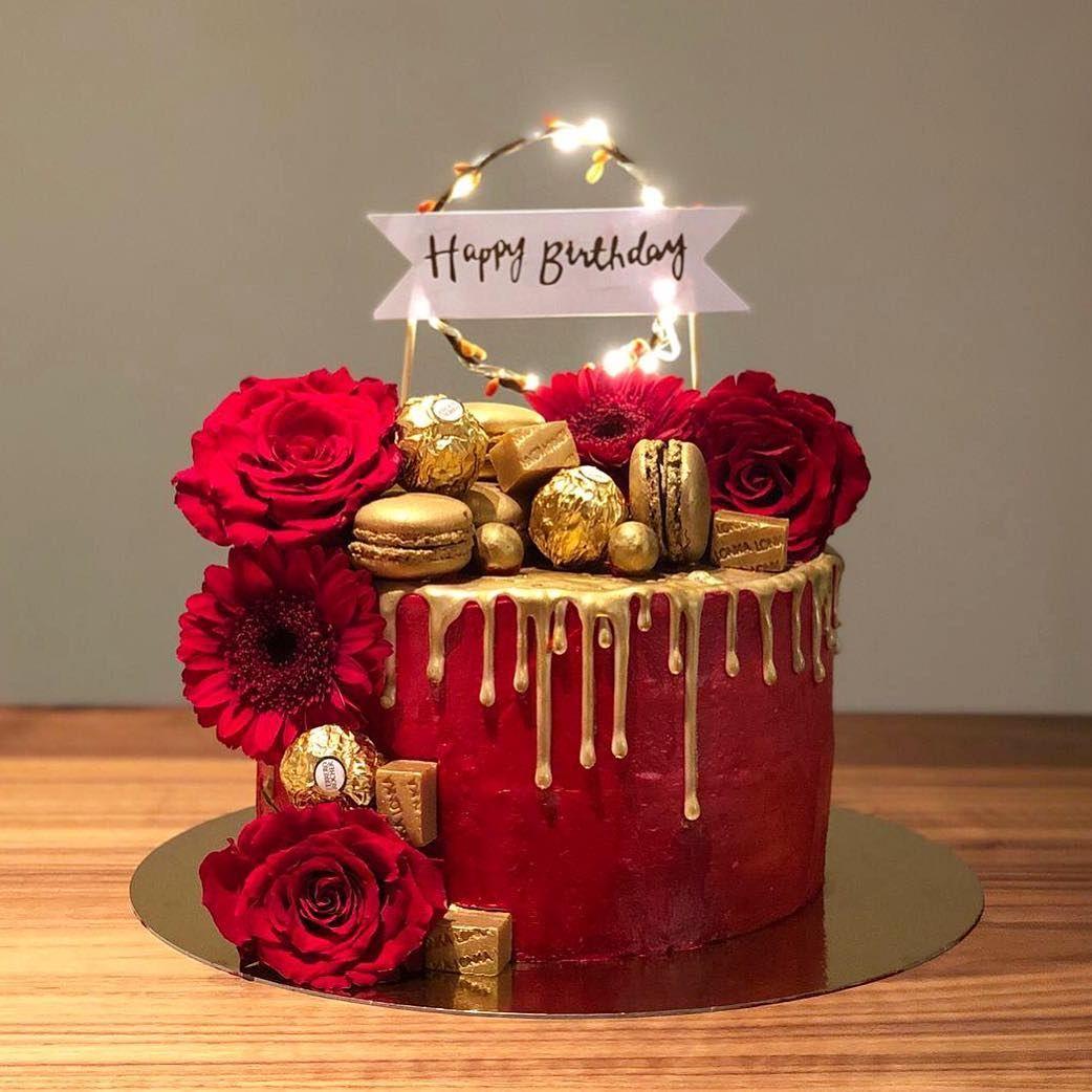 "C A K E S B Y M I L A on Instagram: ""Love this one 😍❤️ Red cake ❤️😍  #redcake #redbirth…   Happy birthday cakes, Happy birthday cake images,  Birthday wishes cake"