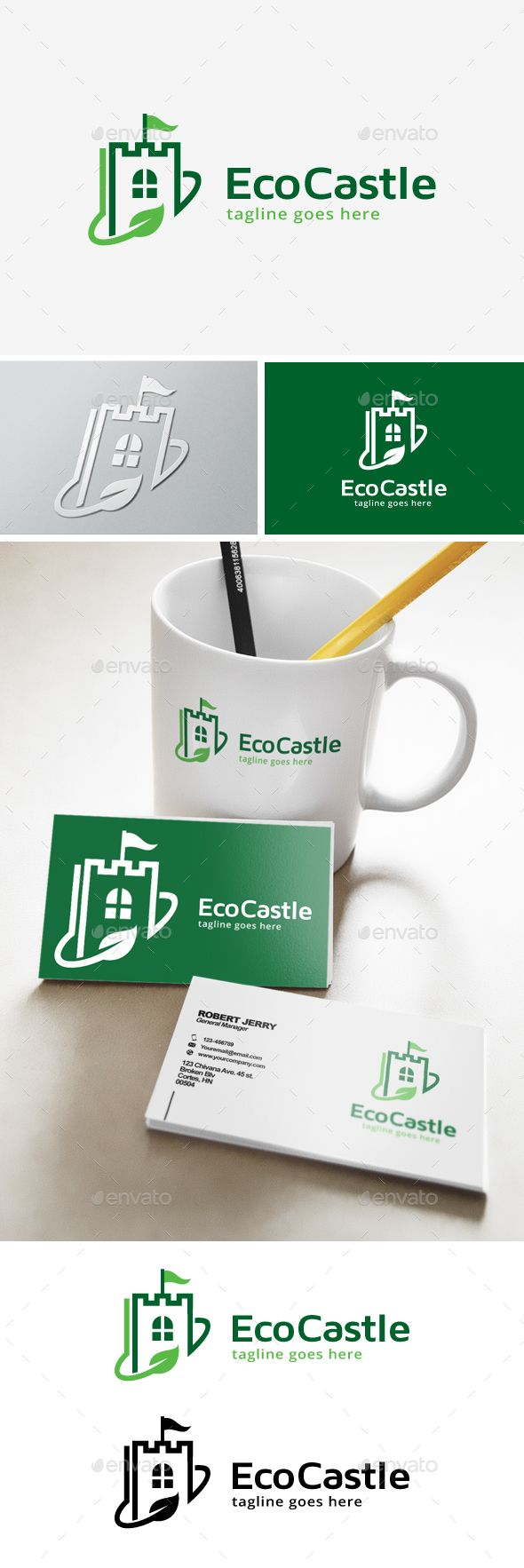 green castle logo | logo design template, green nature and template