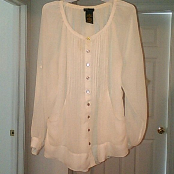 Sheer dressy top In great condition! This top is so comfy and flowy! Grace Elements Tops Blouses