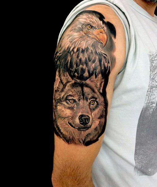 Upper Arm Flying Eagle Tattoo For Men   tattoos ...