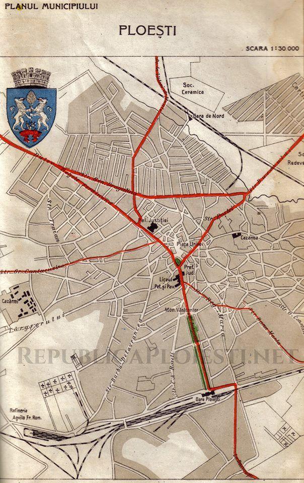 Harta Auto A Orașului Ploiești 1939 Hartă Vintage