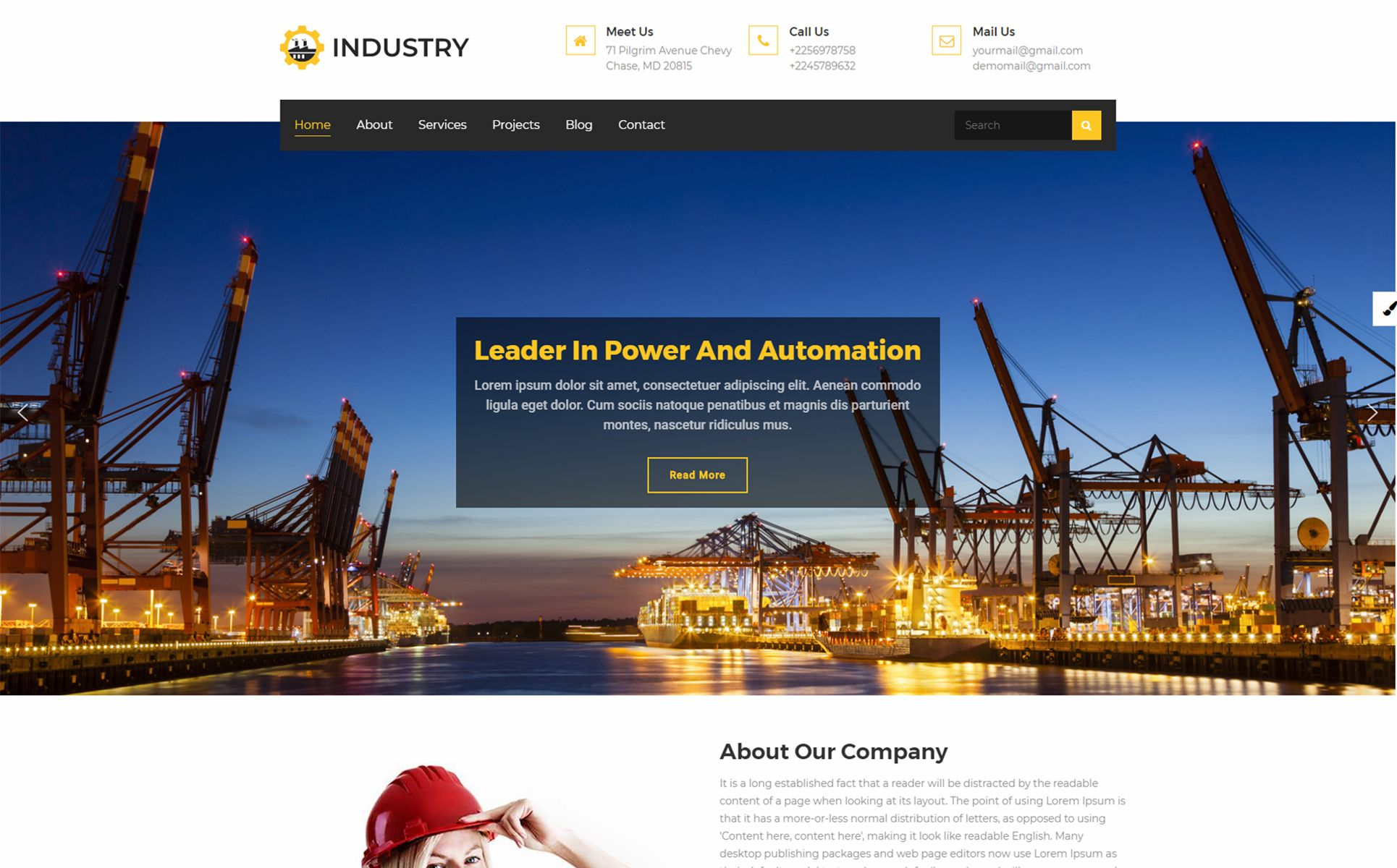 Industry Multipurpose WordPress Theme design