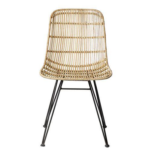 Chaise en rotin tressé pi¨tement en métal Bloomingville naturel