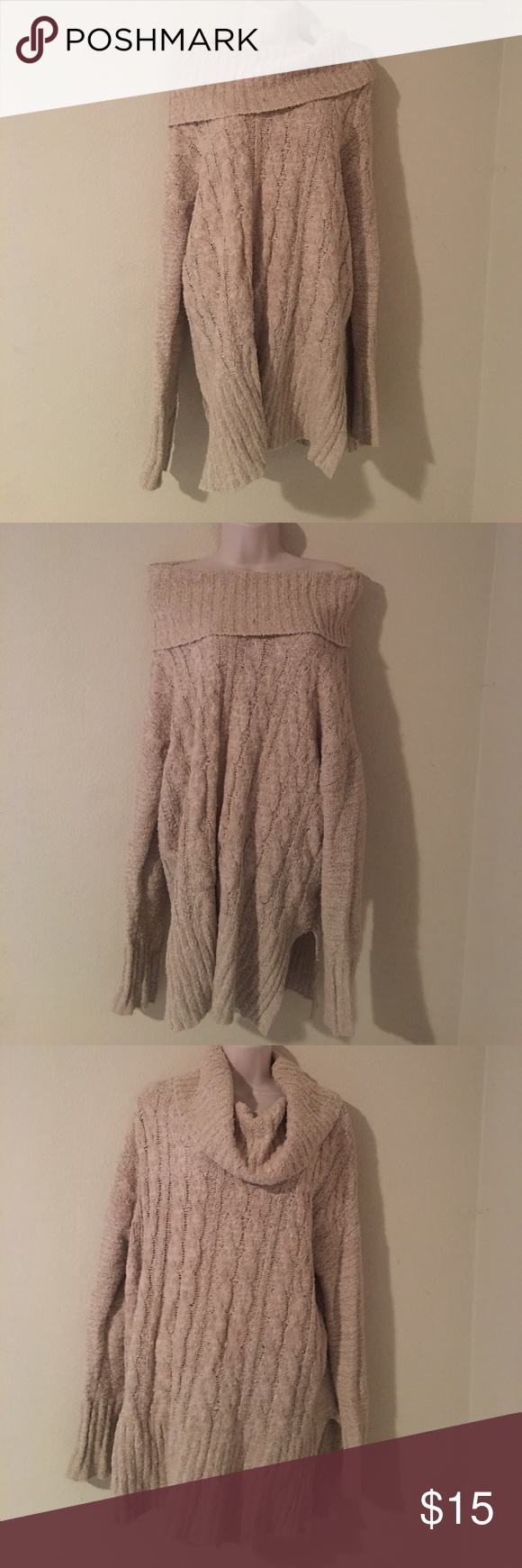 Tan/Cream cable knit tunic sweater ♥ | Tunic sweater, Cable ...